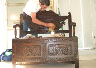 Reviving fire damaged furniture (work carried out in situ)